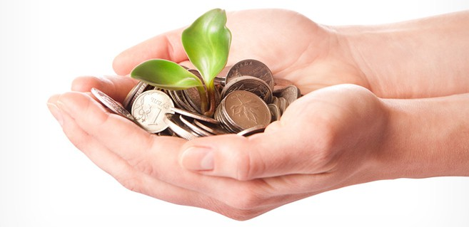 Invest in Marijuana Business. Palm full of coins.