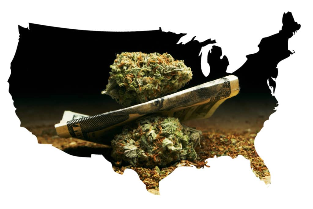 Medical Cannabis States: The Ever-Changing Map. US map with weed in it.