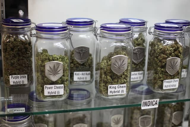 Marijuana Laws in Illinois for Medical Purposes. Bud in jars.