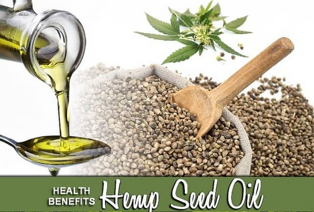 Top Advantages of Hemp Seed Oil Use. Seeds with wooden spoon.