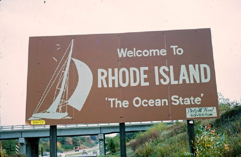 Rhode Island Cannabis School. Welcome to Rhode Island sign.