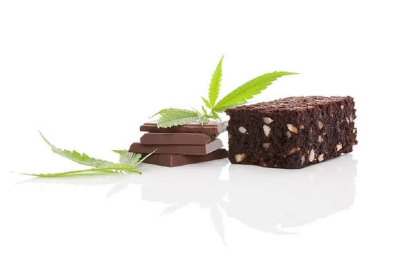 How To Bake Weed Brownies. Chocolate and marijuana leaves.