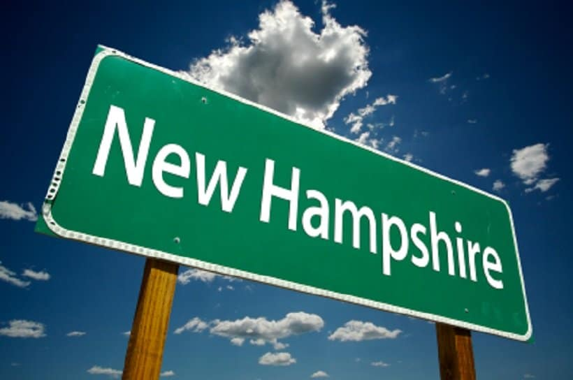 Marijuana schools in New Hampshire. New Hampshire street sign.