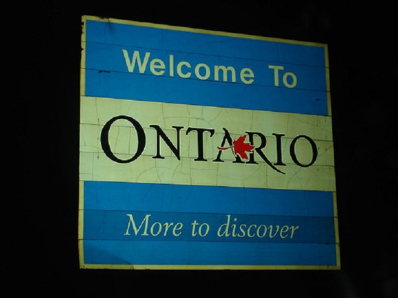 Marijuana career in Canada. Welcome to Ontario sign.