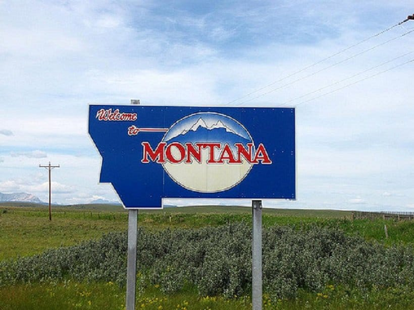THC University in Montana. Welcome to Montana sign.