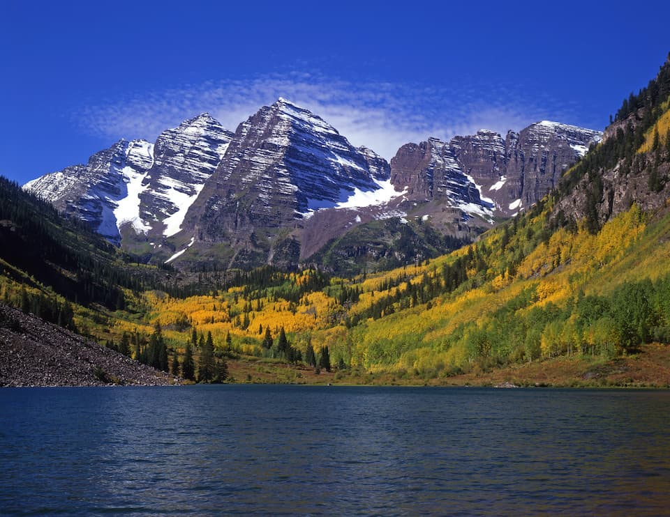 Colorado landscape with water and mountains.