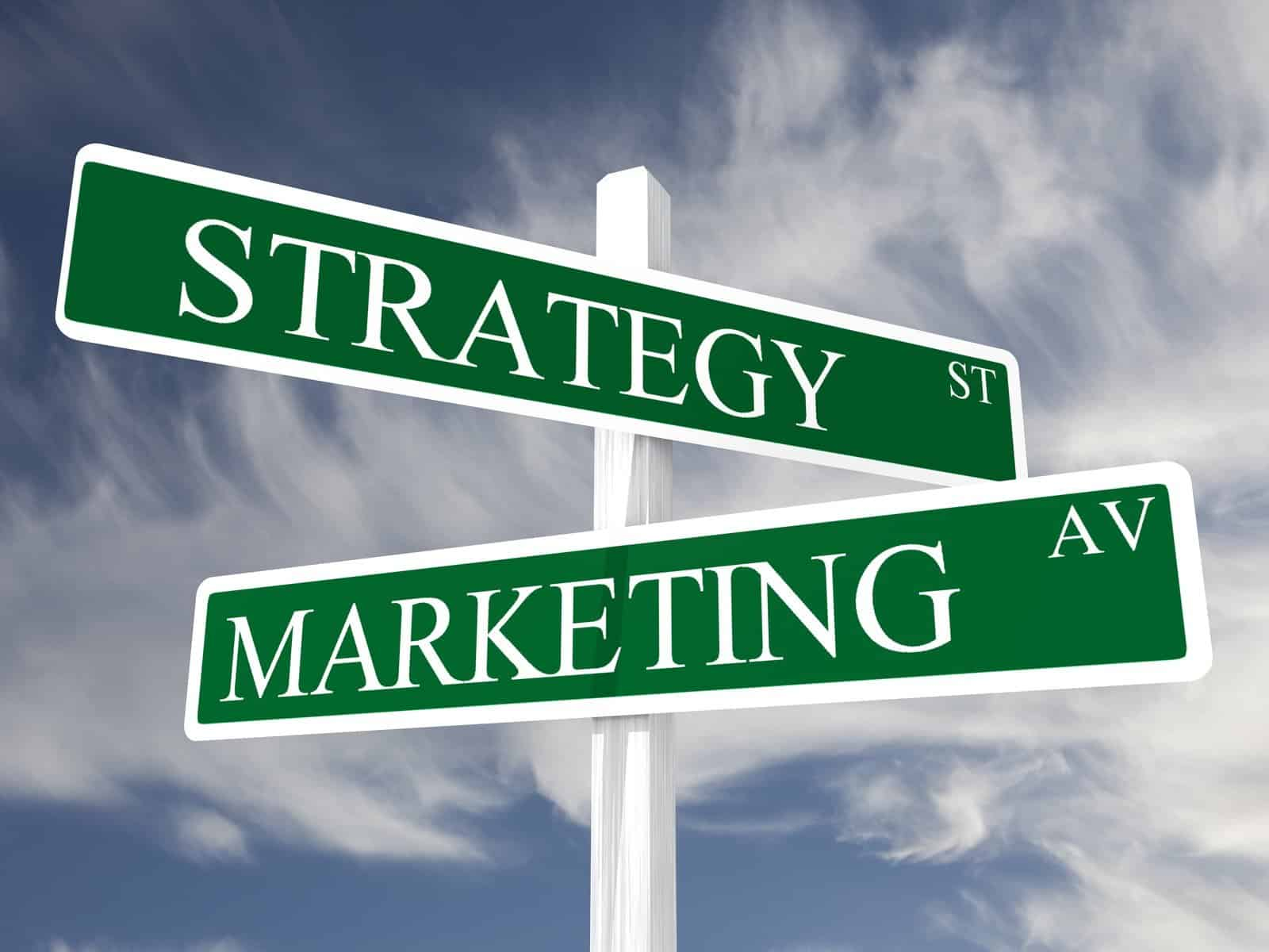 Marijuana Marketing Strategies for Retailers. Streets signs saying strategy and marketing.