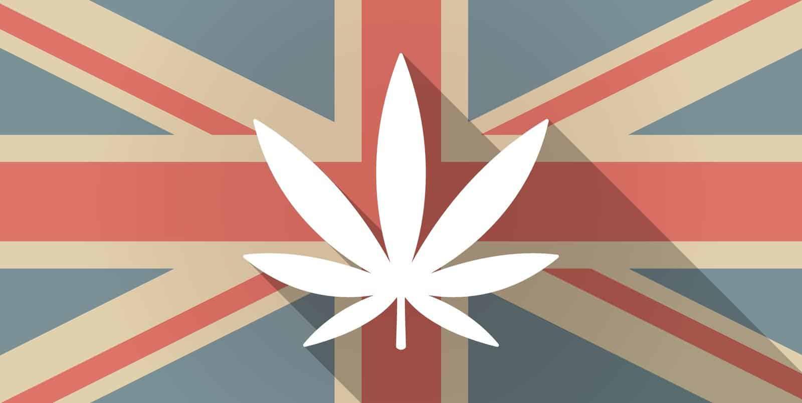 Medical marijuana legalization in UK. UK flag with marijuana leaf.