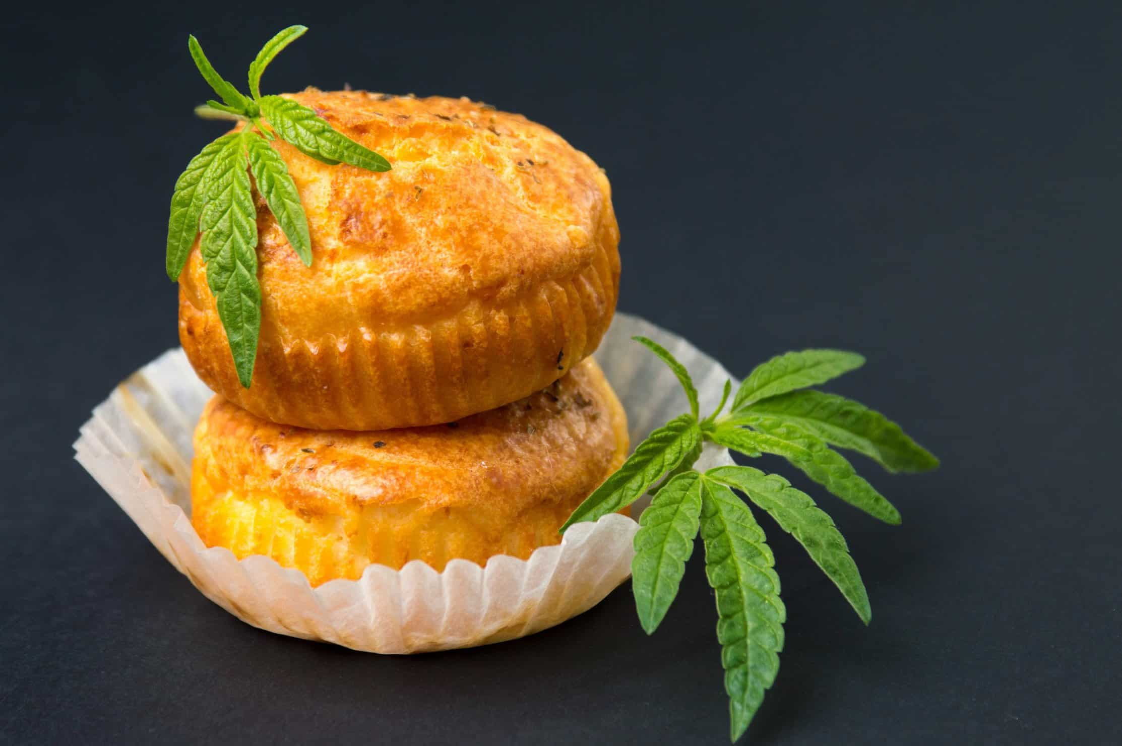 Cooking with CBD. Edibles with marijuana leaves.
