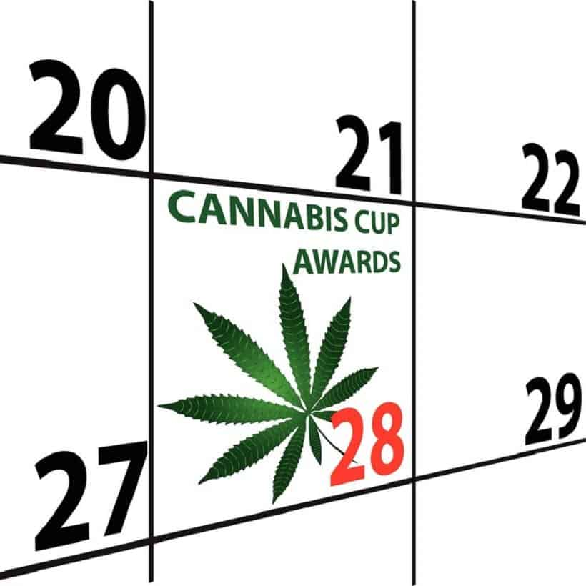 A Look Back at The Best Marijuana Events of 2018. Calendar with cannabis cup awards.