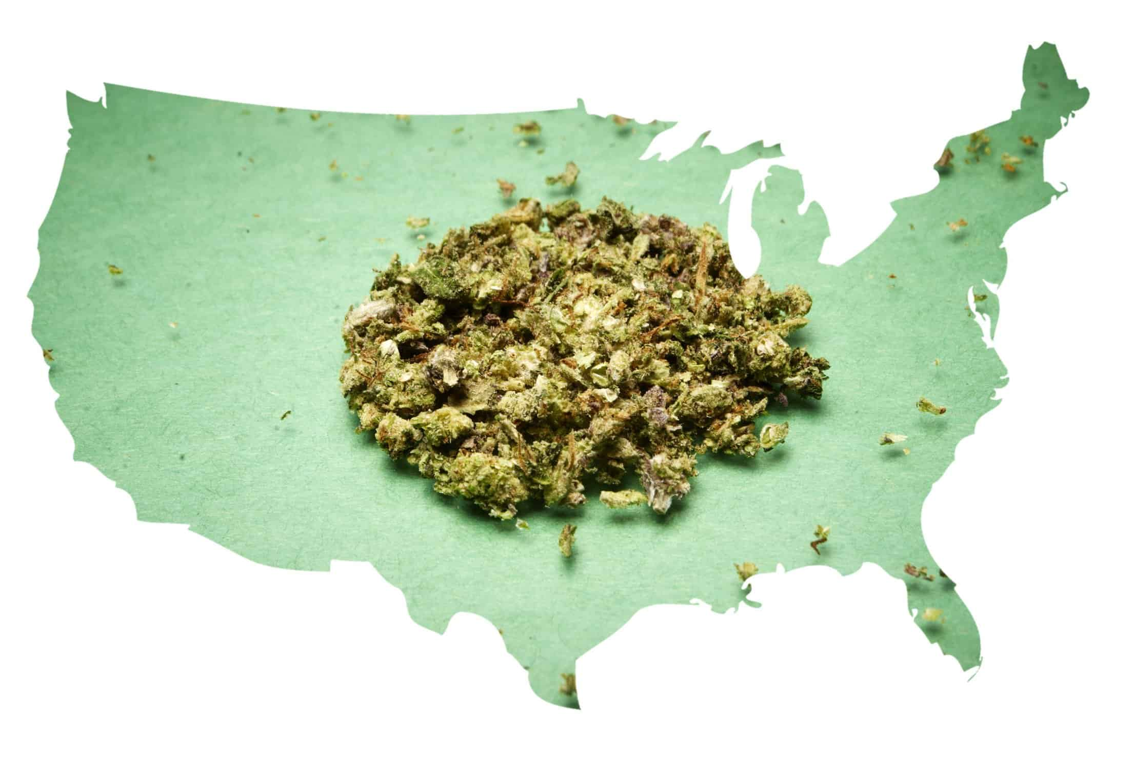 Election Results 2018: Marijuana on the Ballot. US map with weed on it.