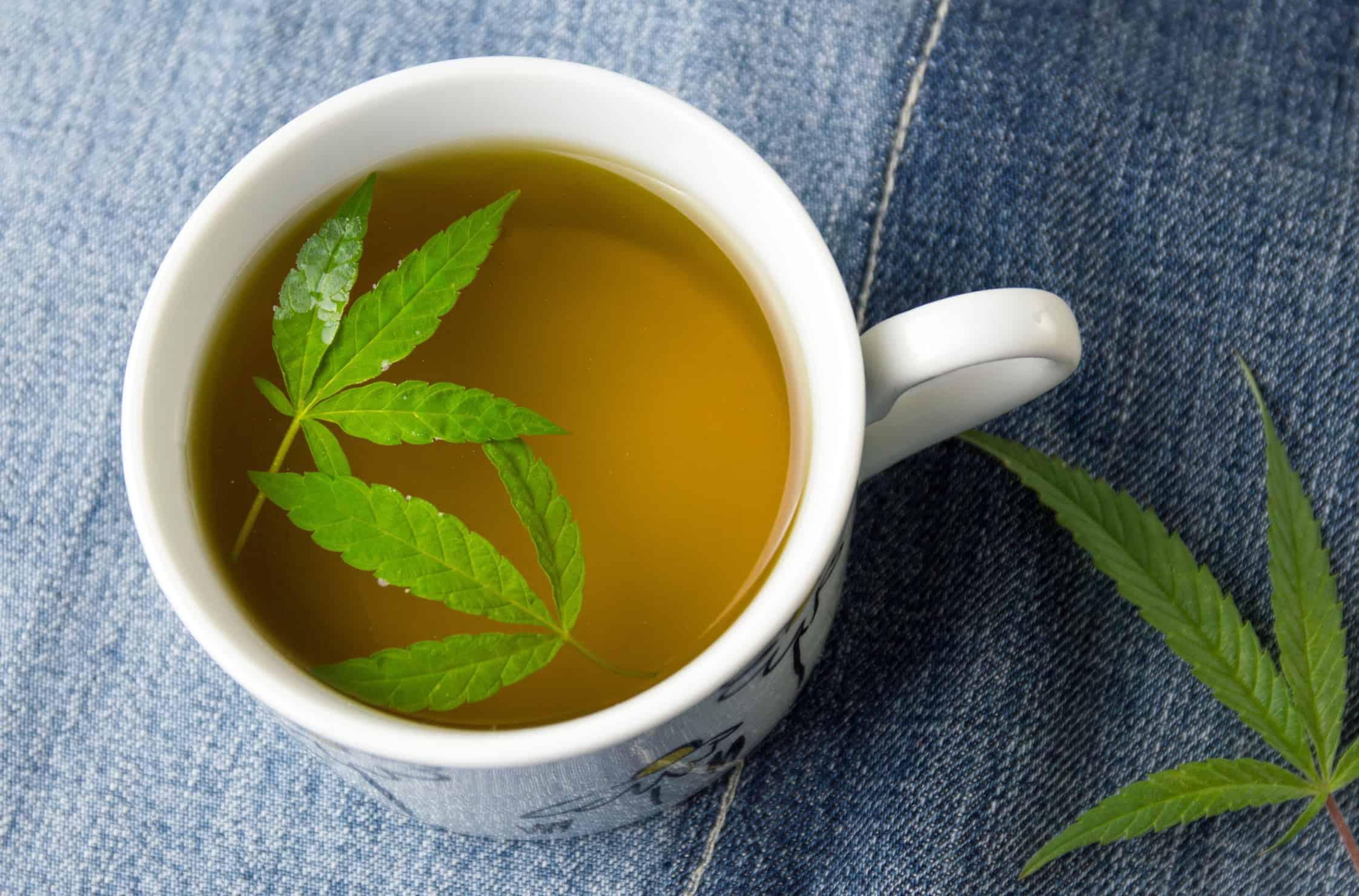 Health Benefits of Marijuana Tea. Cup of tea with marijuana leaves.