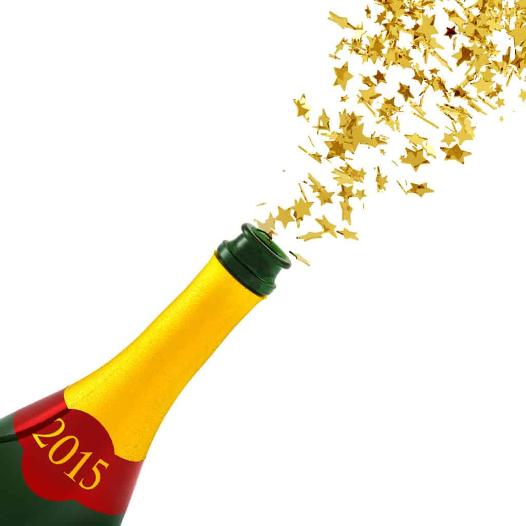 Planning Your Marijuana New Year's Eve Party. 2015 popped champagne bottle.