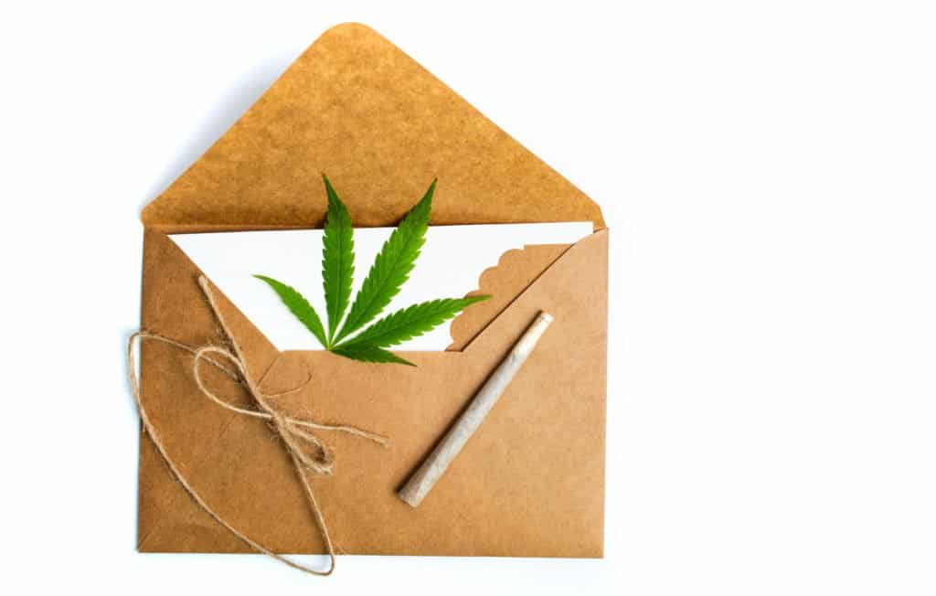 A Look Into Marijuana Home Delivery. Envelope with marijuana leaf in it