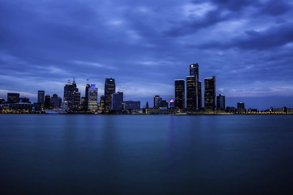 Michigan's New Recreational Cannabis Rules. View of downtown Detroit.