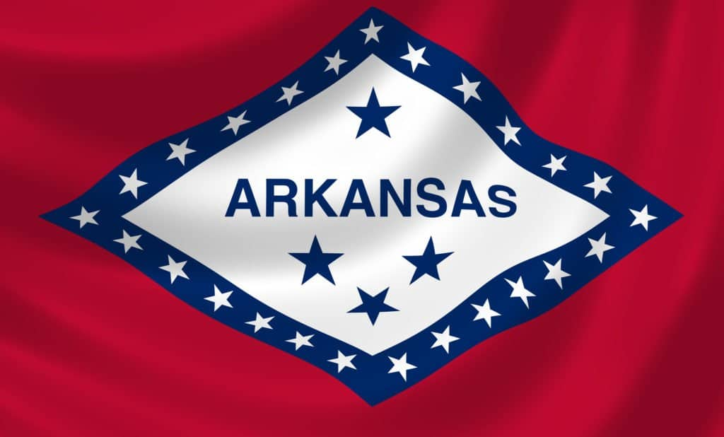 Arkansas state flag. Medical cannabis card Arkansas.