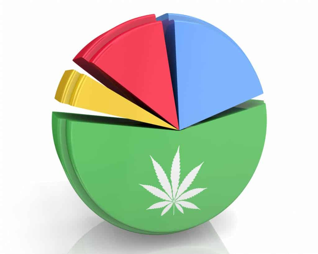 A pie chart with a cannabis leaf on it. Demographics of cannabis consumers 2019