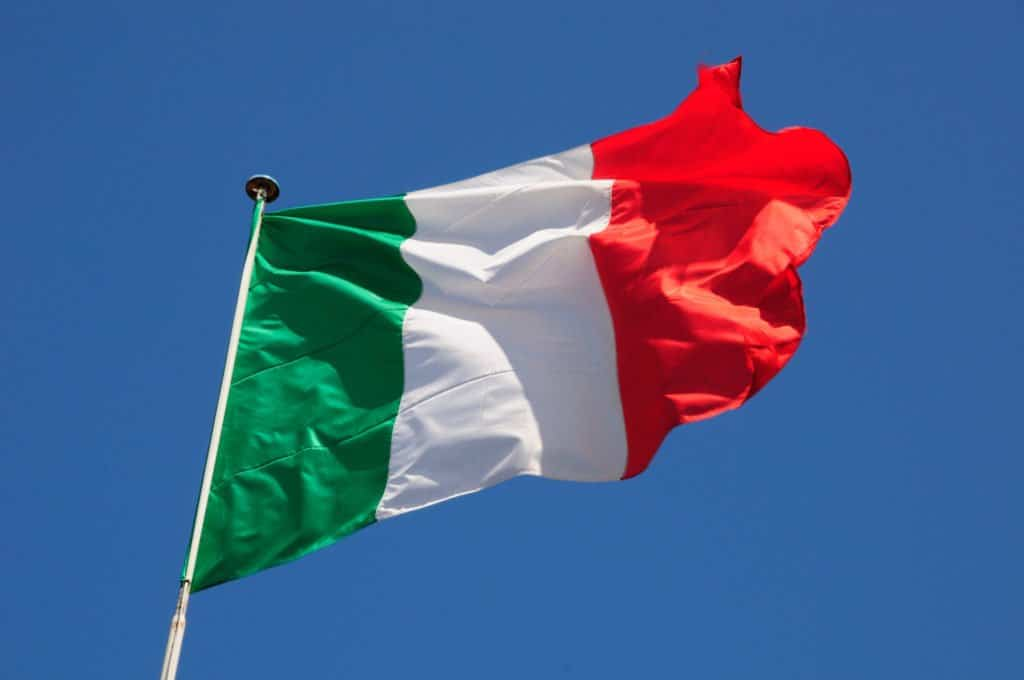Italy flag . Italy cannabis and hemp market