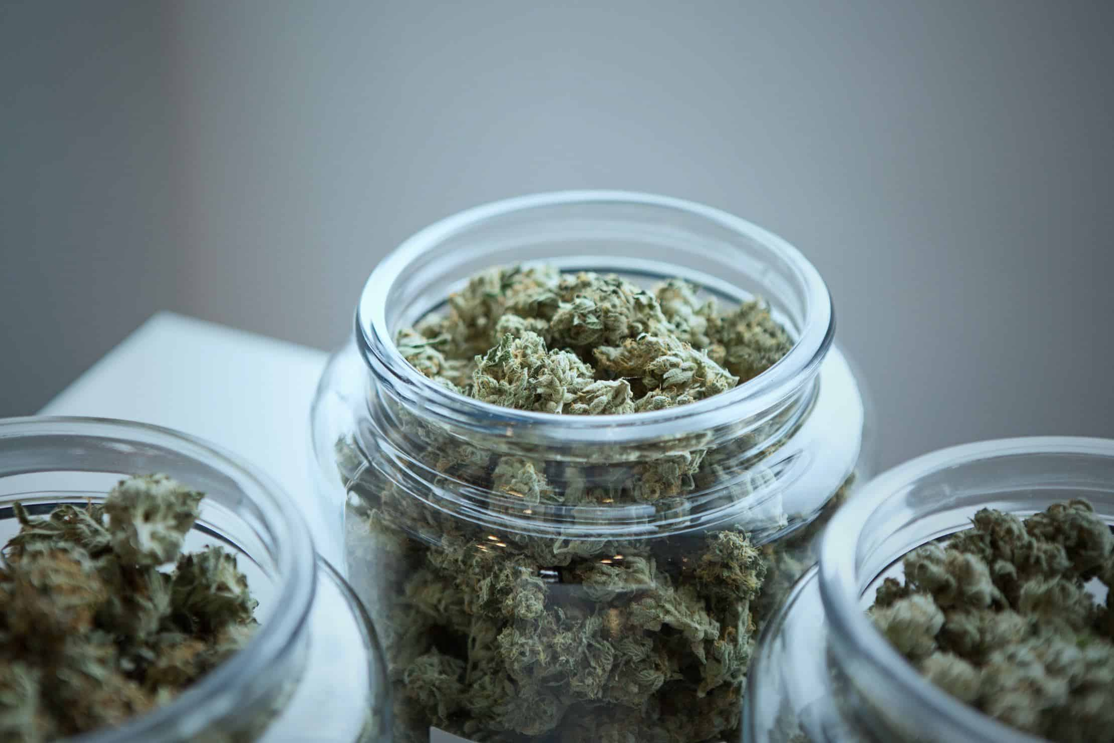 8 great cannabis dispensaries in Portland, Oregon. Bud in glass jars.