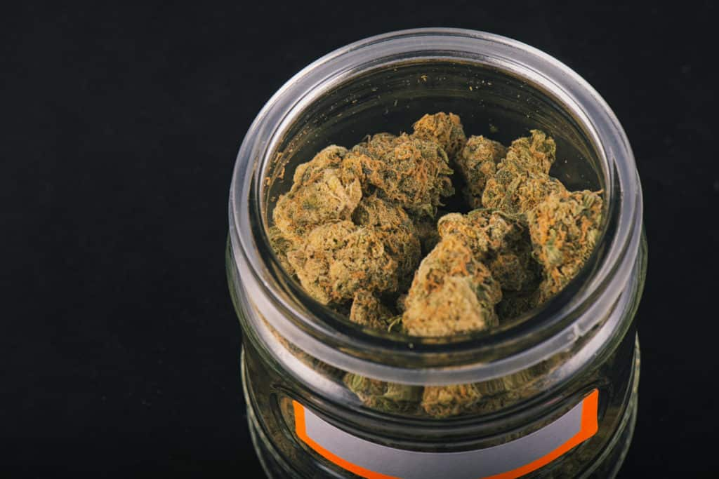 marijuana buds in a glass container, How to Become a Budtender in Nevada
