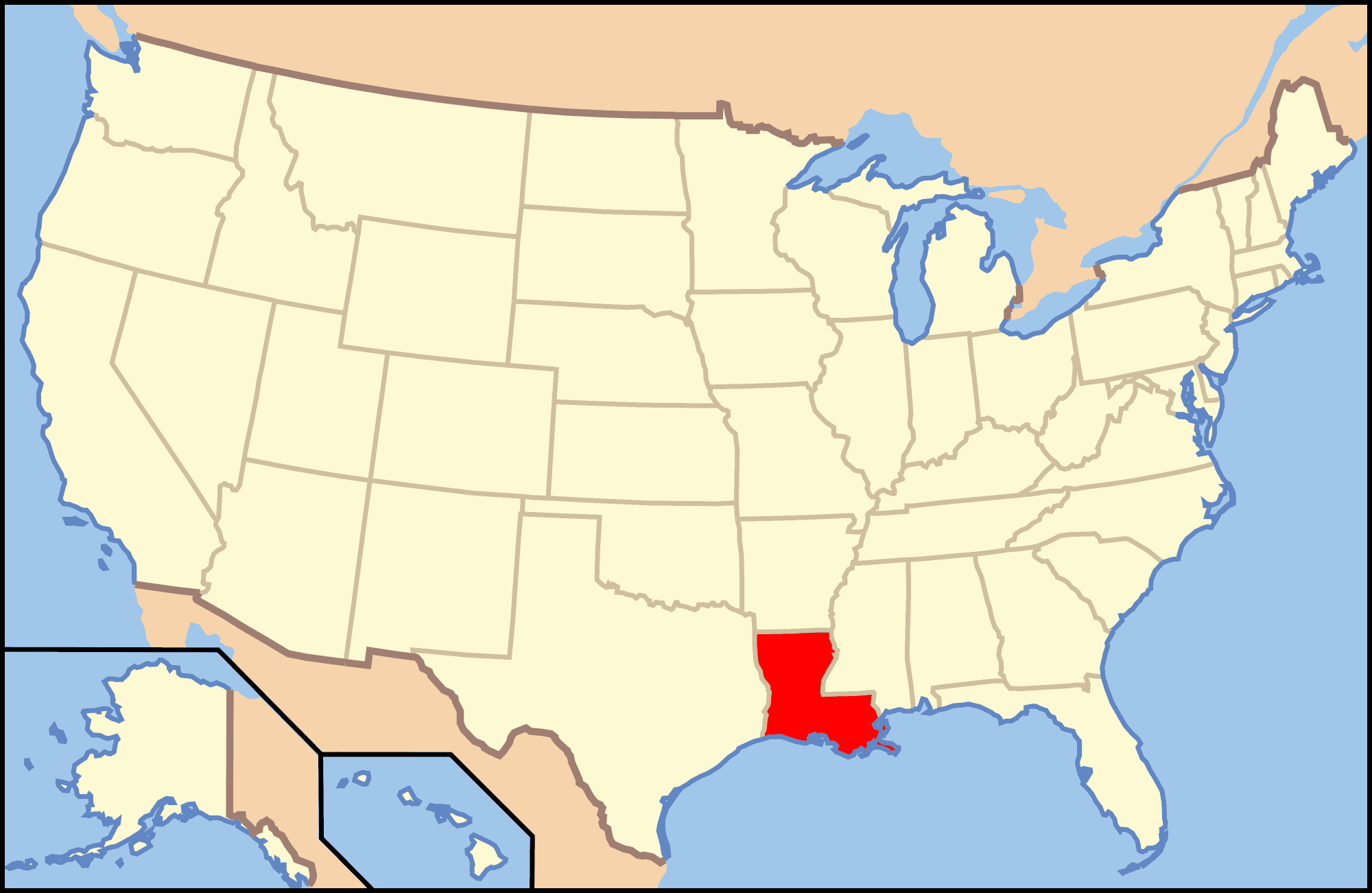 Medical Cannabis Law Reforms in Louisiana. Map of USA.