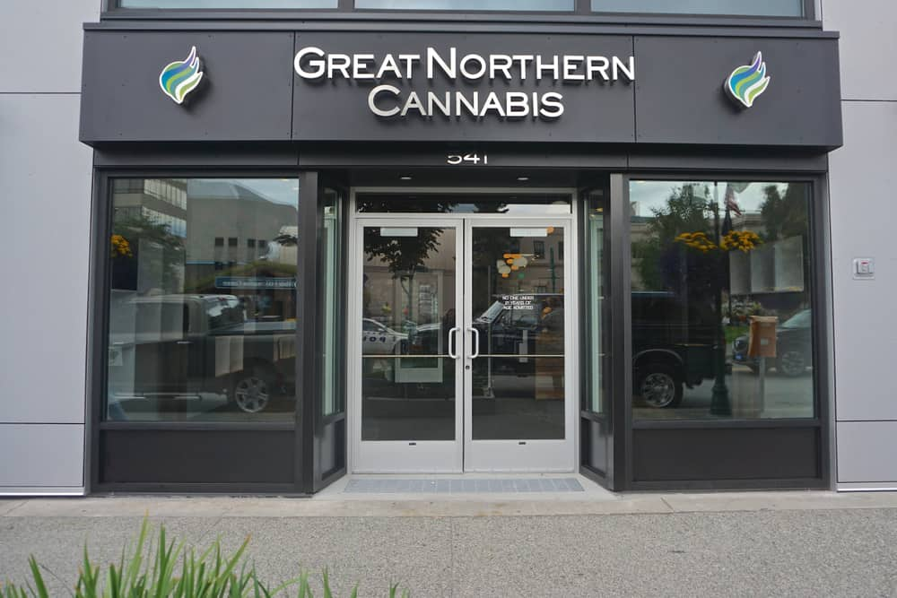 Learn how to be a Budtender in Alaska. Great Northern Cannabis store front.
