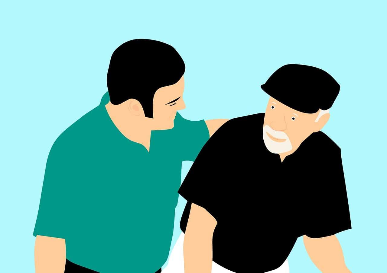 Can Marijuana Cure Alzheimer's disease? Two men talking.