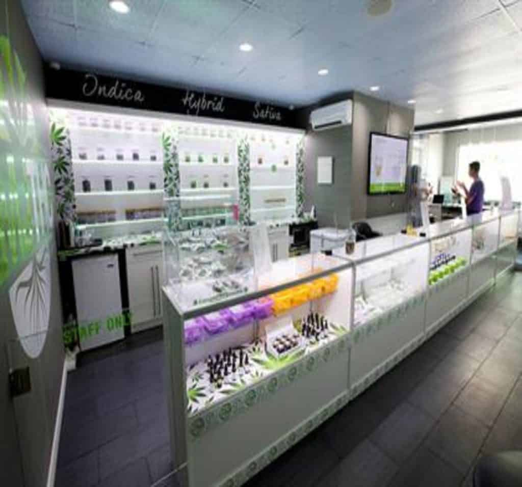 How Much Does A Dispensary License Run in California? Dispensary countertop and display.