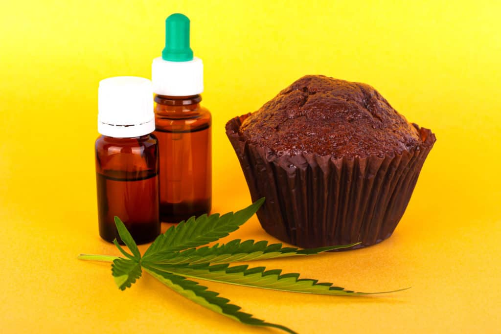 Guide to Becoming a Budtender in Ohio. Weed leaf, brownie and tinctures.