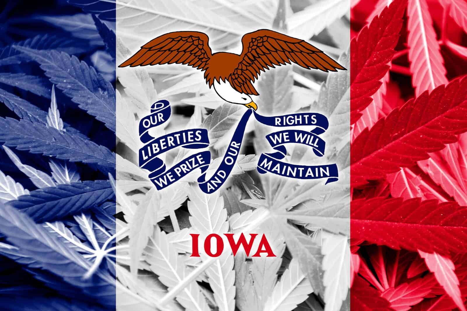Is Cannabis Legal in Iowa? Iowa flag.