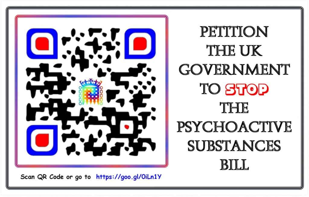 Is UK Close to Marijuana Legalization? QR scanned code for UK petition.