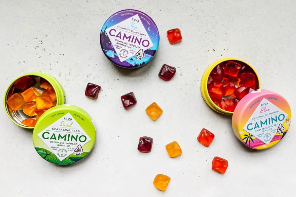 Latest Marijuana Products to Try. Gummies on white service.