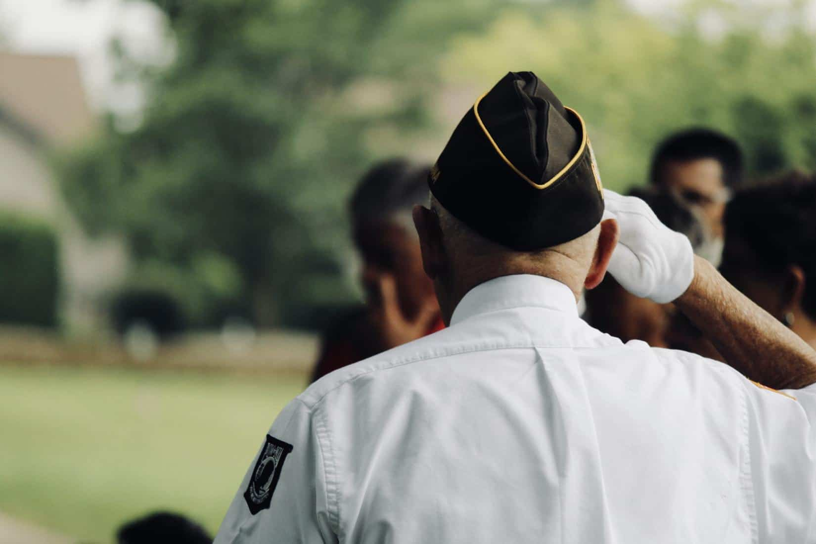 How Veterans Can Use Medical Cannabis For PTSD. Man saluting in uniform.