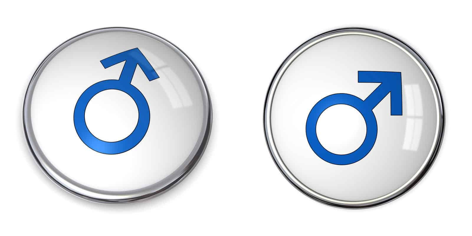 Male symbols on white surface