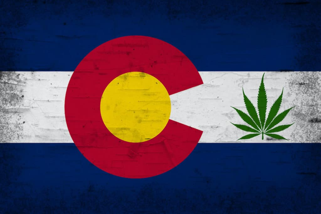 Colorado flag with marijuana leaf