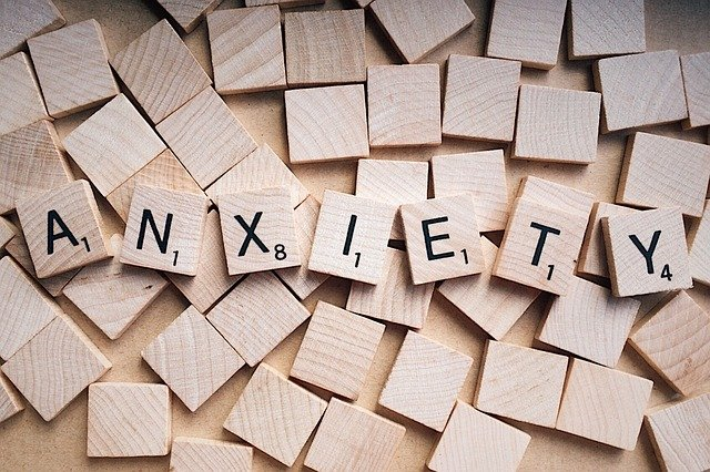 Anxiety written out in letter cubes.