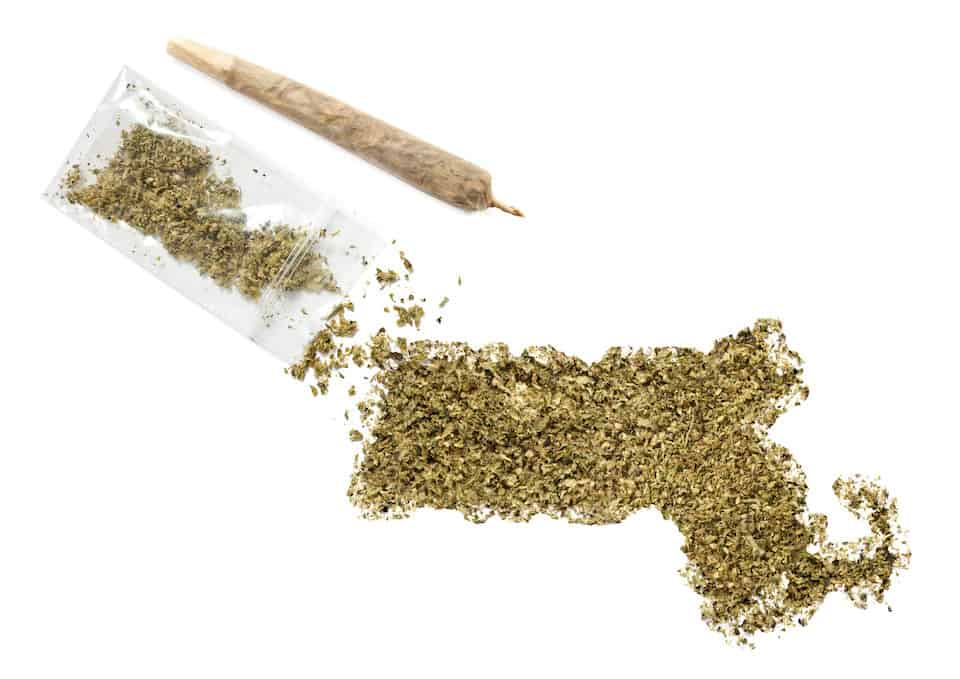 Weed from dispensaries in Massachusetts in the shape of Massachusetts with a joint.