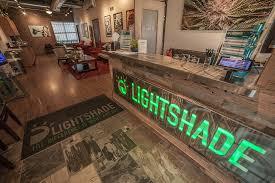 Counter of lightshade marijuana dispensary.