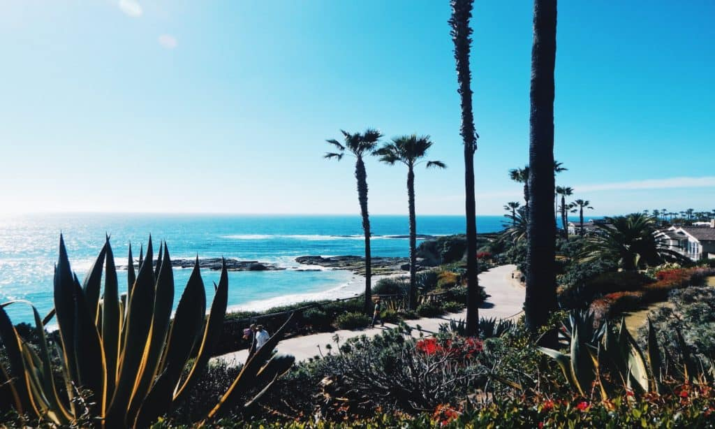 California with beaches and palm trees.