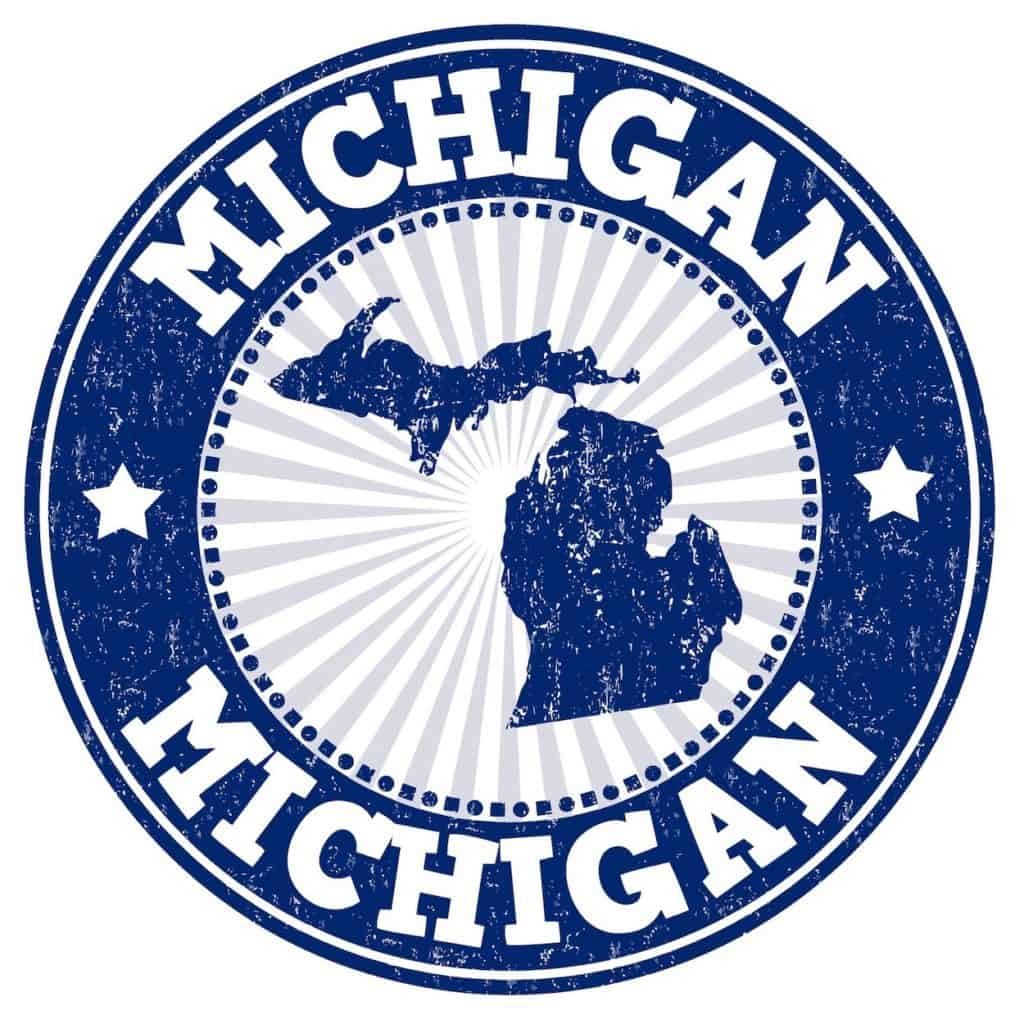 Michigan Recreational Dispensary sign with map of the state in blue.