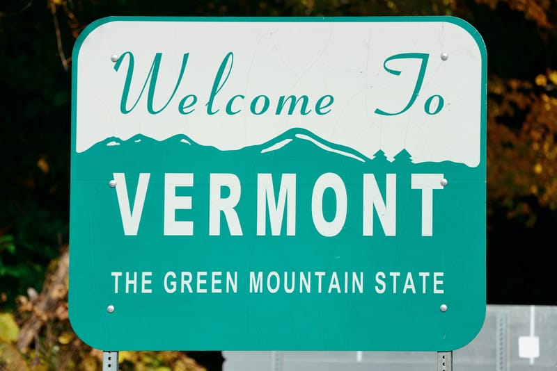 Vermont sign. Cannabis jobs in the green mountain state.
