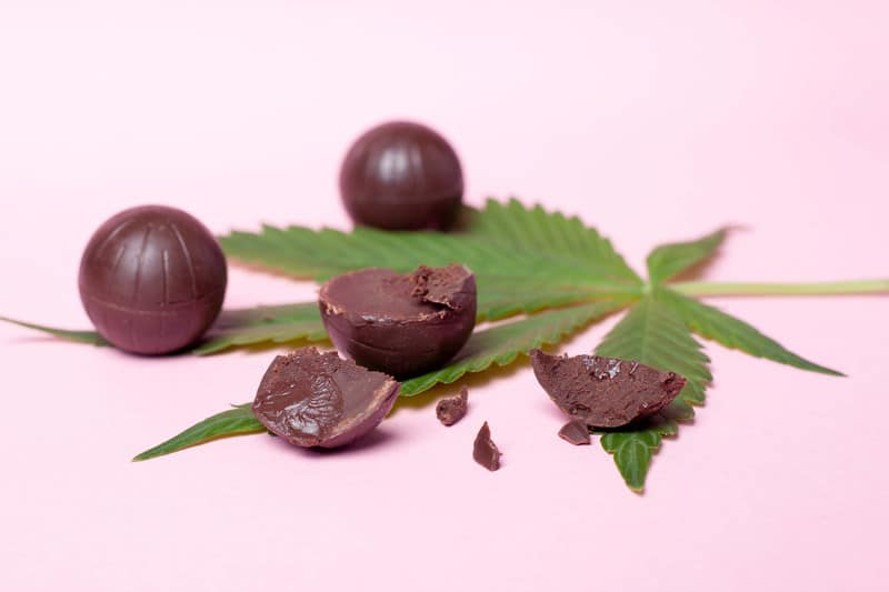 How to make cannabis at home with chocolate balls and cannabis leaf on purple background.
