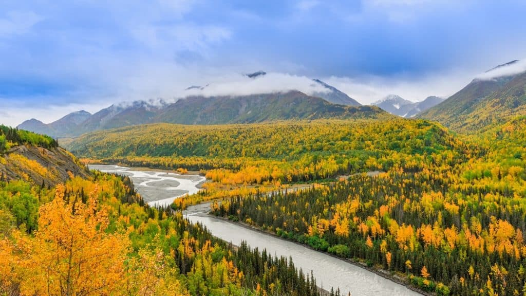 How to Start a Marijuana Business in Alaska. Rivers and mountains with yellow foliage.