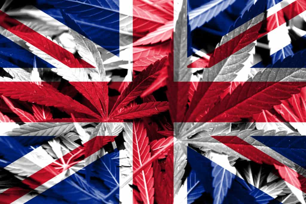 UK flag. Cannabis college UK