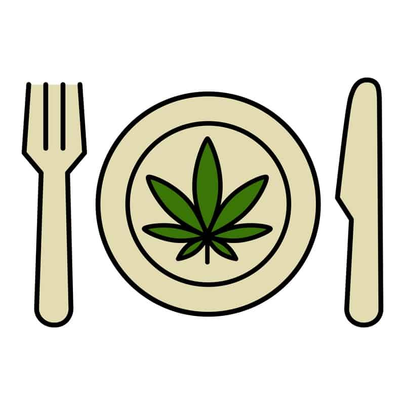 Fork and knife with cannabis leaf on a plate for a cannabis recipe.