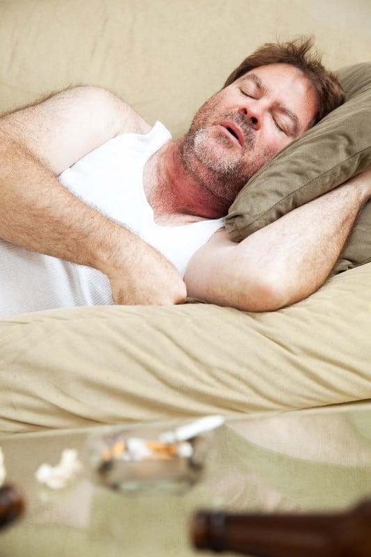 man sleeping after smoking marijuana
