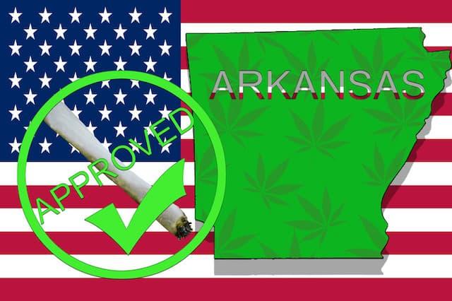 Arkansas Medical Marijuana Sales approved with US flag.
