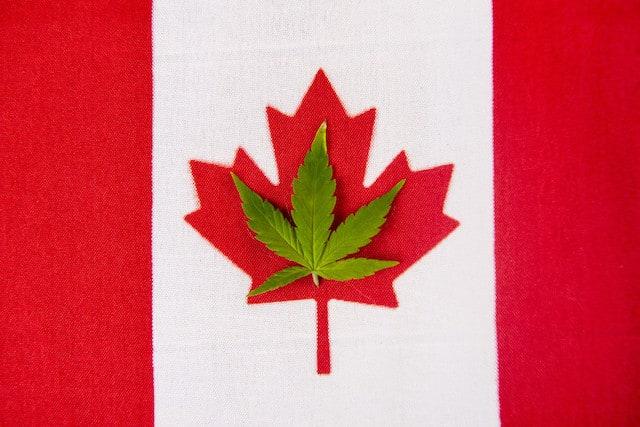Canadian Flag and Marijuana Leaf, opioid prescriptions declining in Canada since marijuana legalization
