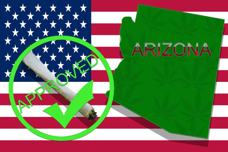 US flag with Arizona State outline and a joint, recreational marijuana sales In Arizona