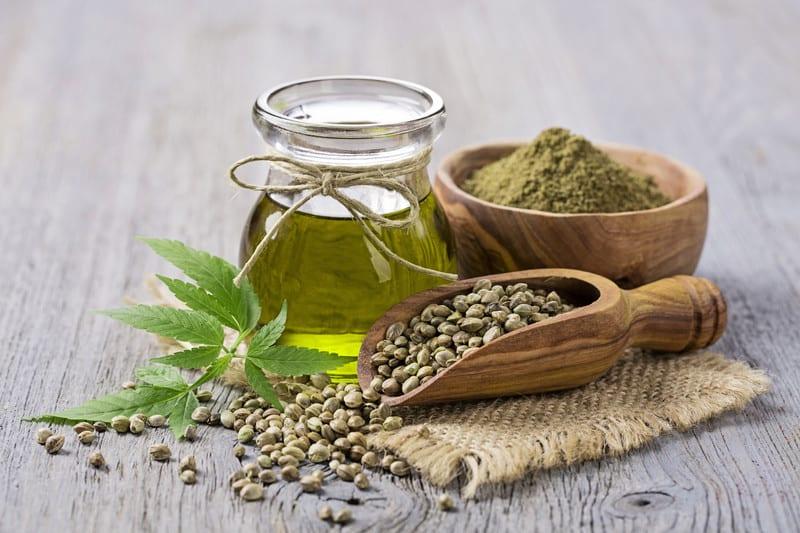 hemp seeds, hemp oil and marijuana leaf, What Is full-spectrum hemp oil?